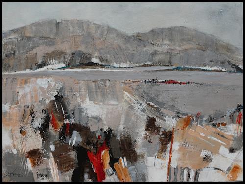 Marianne Kron, Am Fluss, Abstraktes, Landschaft, Expressionismus
