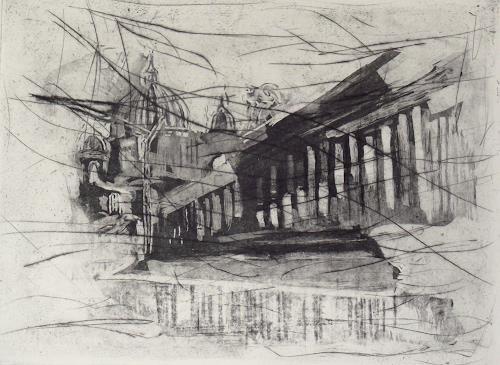 Hans-Dieter Ilge, Spuren zum Berliner Dom, Architektur, Gegenwartskunst, Abstrakter Expressionismus