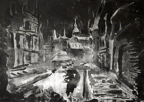 Hans-Dieter Ilge, Winternacht II, Landschaft: Winter, Bauten: Kirchen, expressiver Realismus, Abstrakter Expressionismus
