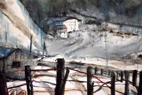 Hans-Dieter Ilge, Tauwetter am Lift, Landschaft: Berge, Landschaft: Winter, Gegenwartskunst, Abstrakter Expressionismus