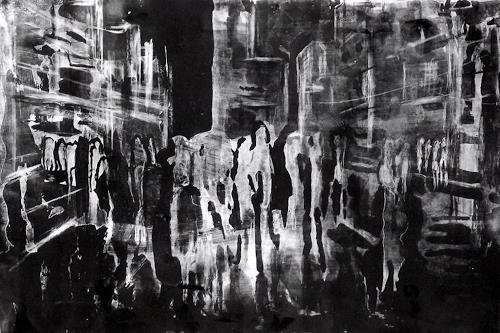 Hans-Dieter Ilge, Großstadt bei Nacht, Architektur, Menschen, Gegenwartskunst, Abstrakter Expressionismus