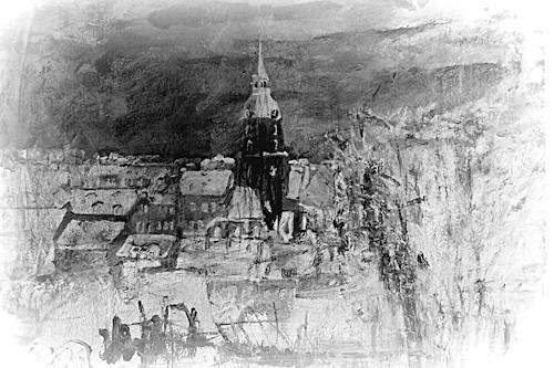 Hans-Dieter Ilge, Winternacht II, Architektur, Diverse Landschaften, Gegenwartskunst, Expressionismus