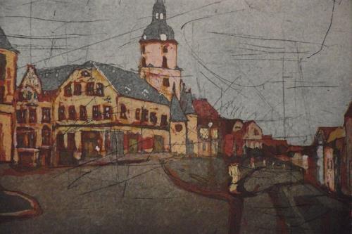 Hans-Dieter Ilge, Stadtansich Meerane, Altmarkt, Architektur, Landschaft, Gegenwartskunst