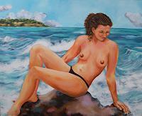 Patricia-del-Pilar-Gottstein-Akt-Erotik-Akt-Frau-Landschaft-See-Meer-Moderne-Fotorealismus