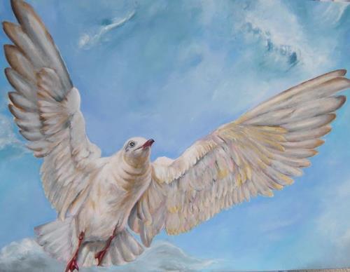 Patricia del Pilar Gottstein, Möwe im Wind, Tiere: Luft, Bewegung, Realismus