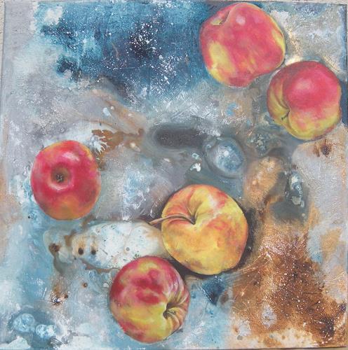 Patricia del Pilar Gottstein, Äpfel im universum, Abstraktes, Ernte, Realismus, Abstrakter Expressionismus