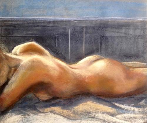 Martin Künne, Akt 205, Menschen: Frau, Akt/Erotik: Akt Frau, expressiver Realismus, Expressionismus