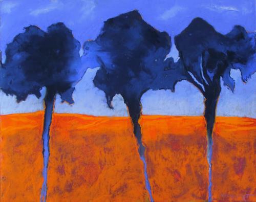 Karin Goeppert, Blau - Blue, Pflanzen: Bäume, Abstraktes, Gegenwartskunst, Abstrakter Expressionismus