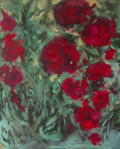 Karin Goeppert, Gartenfieber I - Gardenfever I, Abstraktes, Pflanzen: Blumen, Gegenwartskunst, Expressionismus