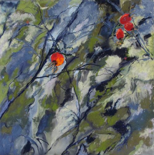 Karin Goeppert, Hagebutte II - Dog Rose II, Pflanzen: Früchte, Abstraktes, Abstrakte Kunst, Expressionismus