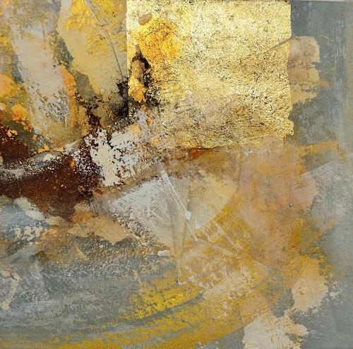 Christine Claudia Weber, Serie Gold, Abstraktes, Gegenwartskunst, Expressionismus