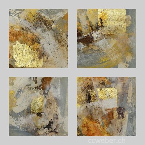 Christine Claudia Weber, Serie Gold, Abstraktes, Gegenwartskunst