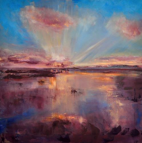 Christine Claudia Weber, Stimmung, Landschaft: See/Meer, Abstraktes, Abstrakte Kunst, Expressionismus