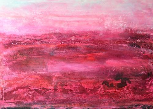 Christine Claudia Weber, Mohnfeld, Abstraktes, Landschaft, Abstrakte Kunst