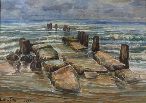Wilhelm Laufer, Gesehen auf Borkum bei Ebbe, Natur, Natur: Wasser, Gegenwartskunst