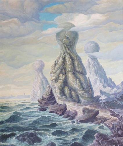 Wilhelm Laufer, Strandfiguren, Fantasie, Landschaft: Strand, Realismus, Abstrakter Expressionismus