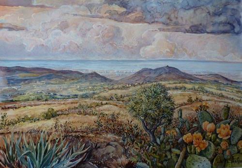 Wilhelm Laufer, Auf dem Weg nach Los Christianos, Landschaft: Tropisch, Landschaft: Hügel, Gegenwartskunst, Expressionismus