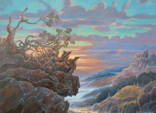 Wilhelm Laufer, Abendbild, Zeiten: Sommer, Landschaft: Berge, Naturalismus, Expressionismus