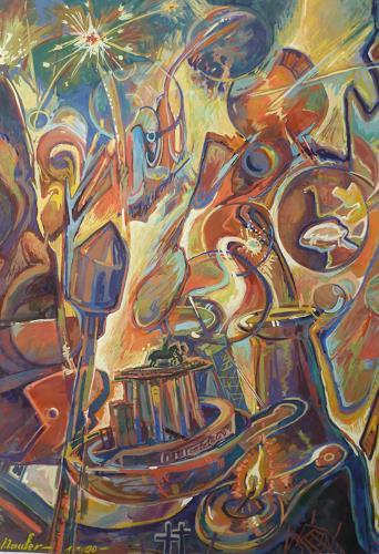 Wilhelm Laufer, Berlin, Maueröffnung, Party/Feier, Gefühle: Freude, Gegenwartskunst, Abstrakter Expressionismus