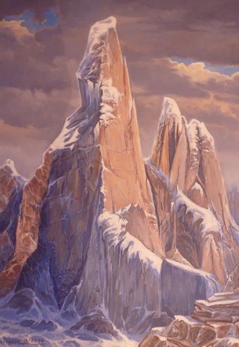 Wilhelm Laufer, Cerro Torres, Landschaft, Gegenwartskunst, Expressionismus