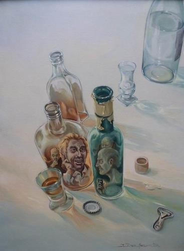 Wilhelm Laufer, Flaschengeister, Stilleben, Gesellschaft, Realismus, Abstrakter Expressionismus