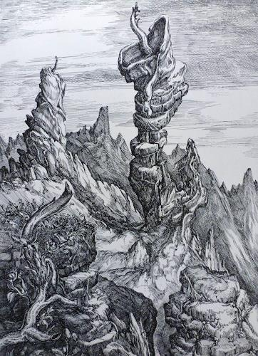 Wilhelm Laufer, Fantasiefelsen, Fantasie, Landschaft: Berge, Postsurrealismus