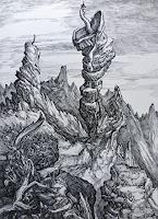 Wilhelm-Laufer-Fantasie-Landschaft-Berge-Gegenwartskunst-Postsurrealismus