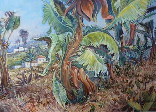 Wilhelm Laufer, Palmengarten in Tenneriffa, Landschaft: Tropisch, Pflanzen: Palmen, Realismus, Expressionismus
