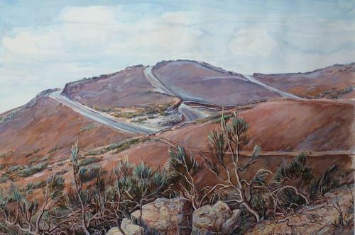 Wilhelm Laufer, Teideginster in den Las Canadas/Tenneriffa, Landschaft: Hügel, Natur: Erde, Realismus