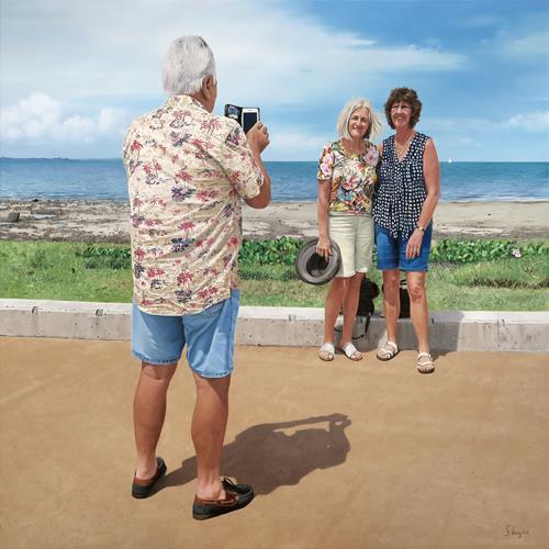 Thomas Steyer, Brisbane, Menschen: Gruppe, Landschaft: See/Meer, Fotorealismus, Expressionismus