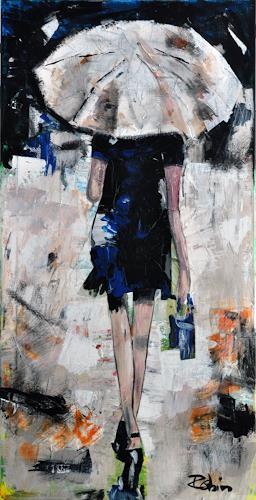 Robin W. Schmid, Regen in Venedig, Menschen: Frau, Freizeit, Gegenwartskunst, Expressionismus