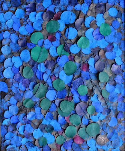 Friedhelm Raffel, Blauer- Blattregen, Diverse Pflanzen, Moderne, Abstrakter Expressionismus