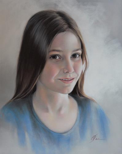 Olga Sarabarina, Portrait eines Mädchens, Menschen: Kinder, Menschen: Porträt, Realismus