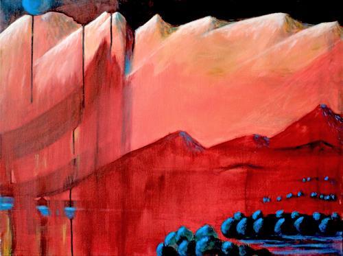 Ingeborg Müller, blue moon, Fantasie, Landschaft, Moderne, Abstrakter Expressionismus