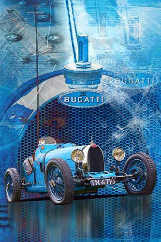 Bernd Michalak, Collage Bugatti, Technik, Sport, Gegenwartskunst