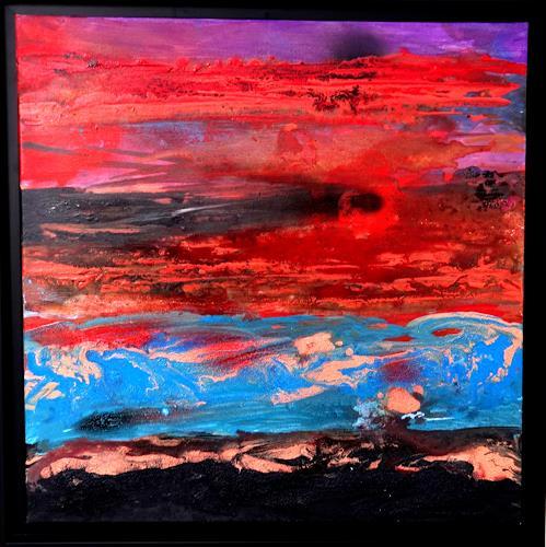 Gerhard Knolmayer, Im Yellowstone National Park, Landschaft: Berge, Abstraktes, Abstrakte Kunst