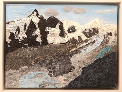 Gerhard Knolmayer, Der Großglockner und die Reste der Pasterze, Landschaft: Berge, Landschaft: Sommer, expressiver Realismus