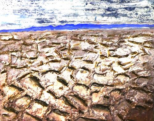 Gerhard Knolmayer, Sand auf der Salzwüste, Landschaft: See/Meer, Landschaft: Ebene, expressiver Realismus