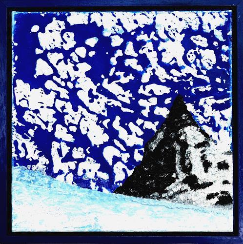 Gerhard Knolmayer, Expressive Himmelserscheinung über dem Matterhorn, Landschaft: Berge, Landschaft: Winter, Neo-Expressionismus, Abstrakter Expressionismus