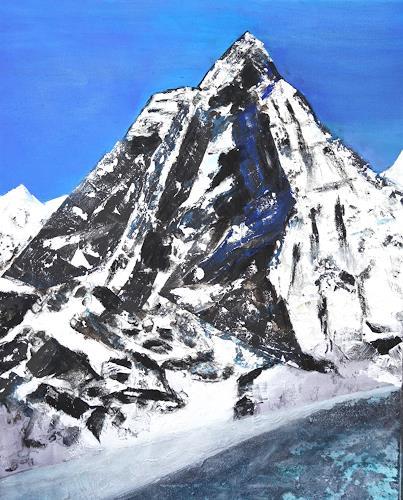 Gerhard Knolmayer, Monte Cervino - Alles hat mindestens 2 Seiten, auch das Matterhorn, Landschaft: Berge, Natur: Gestein, expressiver Realismus