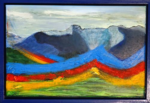 Gerhard Knolmayer, Kunterbunt in den Blauen Bergen, Landschaft: Berge, Fantasie, expressiver Realismus