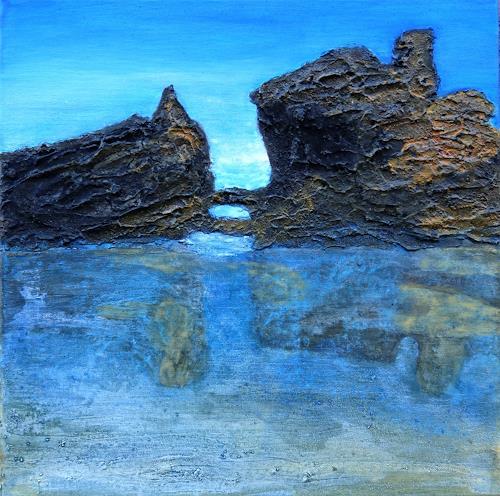 Gerhard Knolmayer, Kleine Inseln vor Essaouira, Landschaft: Strand, Landschaft: See/Meer, expressiver Realismus