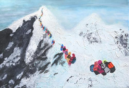 Gerhard Knolmayer, Rush Hour am Mount Everest, Landschaft: Berge, Menschen: Gruppe, expressiver Realismus, Expressionismus
