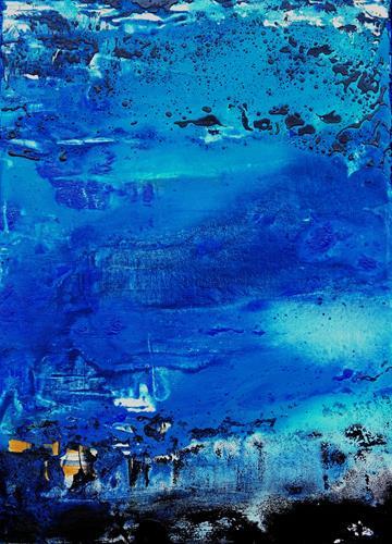 Gerhard Knolmayer, Blaue Stadt im Norden, Abstraktes, Abstrakte Kunst, Abstrakter Expressionismus