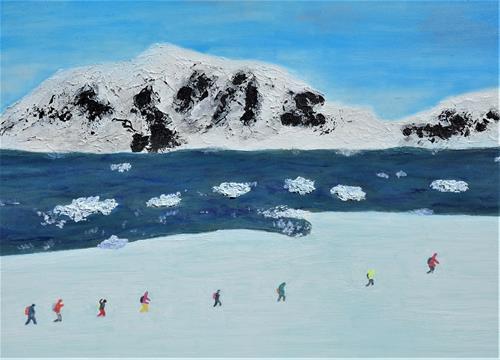 Gerhard Knolmayer, Skimarathon in der Antarktis, Landschaft: Berge, Landschaft: See/Meer, Naturalismus