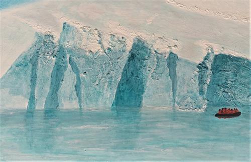 Gerhard Knolmayer, Gemma schaun, gemma schaun, ob die Gletscherwand noch do is!, Landschaft: See/Meer, Menschen: Gruppe, Hyperrealismus, Expressionismus