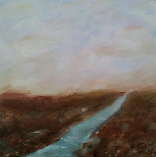 Gabriele Scholl, Fluss II, Abstraktes, Landschaft: See/Meer, Gegenwartskunst