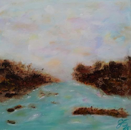 Gabriele Scholl, Fluss, Landschaft: See/Meer, Abstraktes, Gegenwartskunst, Expressionismus