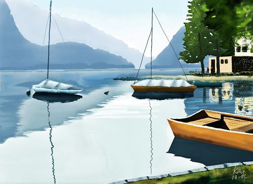 Kay, Lago di Poschiavo, Landschaft: See/Meer, Natur: Wasser, Gegenwartskunst, Expressionismus