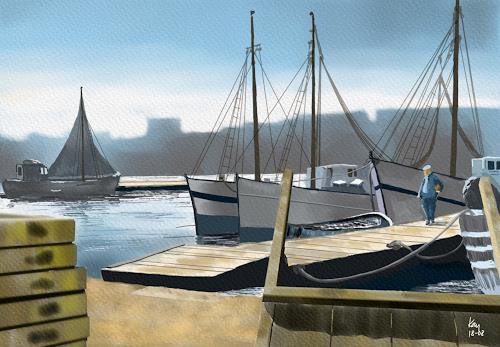 Kay, Port de Marseille 1954, Landschaft: Sommer, Verkehr: Schiff, Gegenwartskunst, Expressionismus